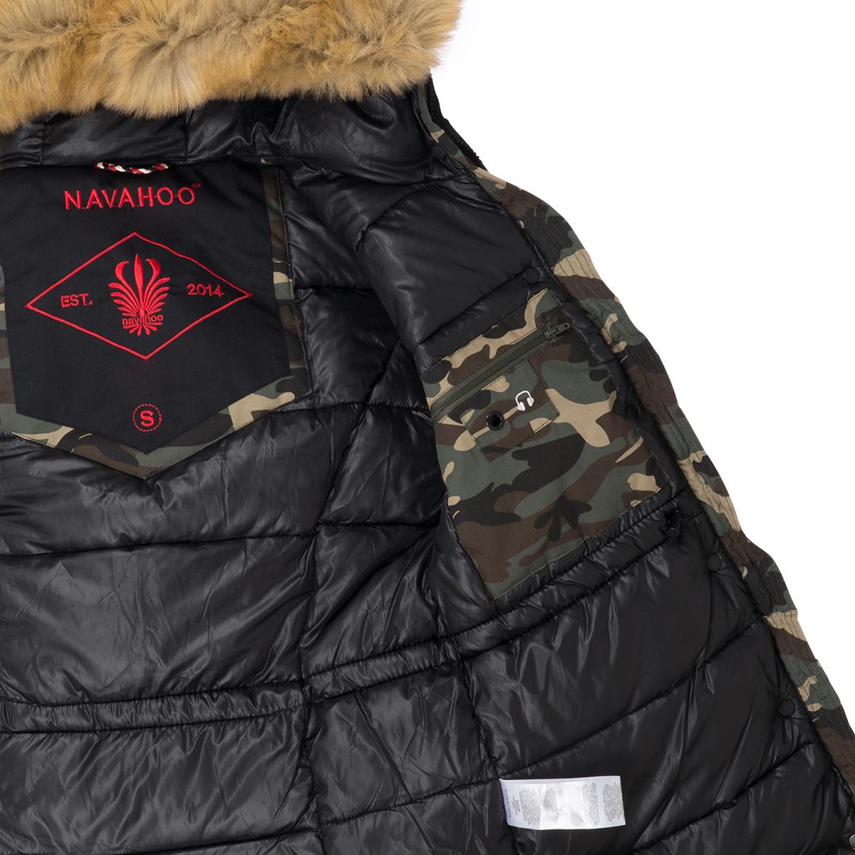 Navahoo Camouflage Damen Parka Mantel Winterjacke gefüttert Army Woodland Camo