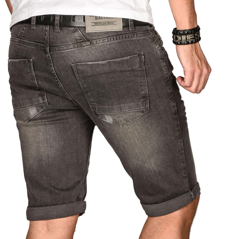 A-Salvarini-Herren-Designer-Jeans-Short-kurze-Hose-Slim-Sommer-Shorts-Bermuda Indexbild 13