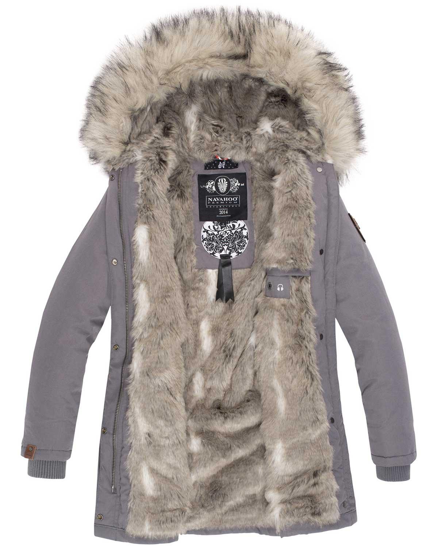 Navahoo-Premium-Damen-Winter-Jacke-Parka-Mantel-Winterjacke-warm-Kunstfell-B669 Indexbild 27