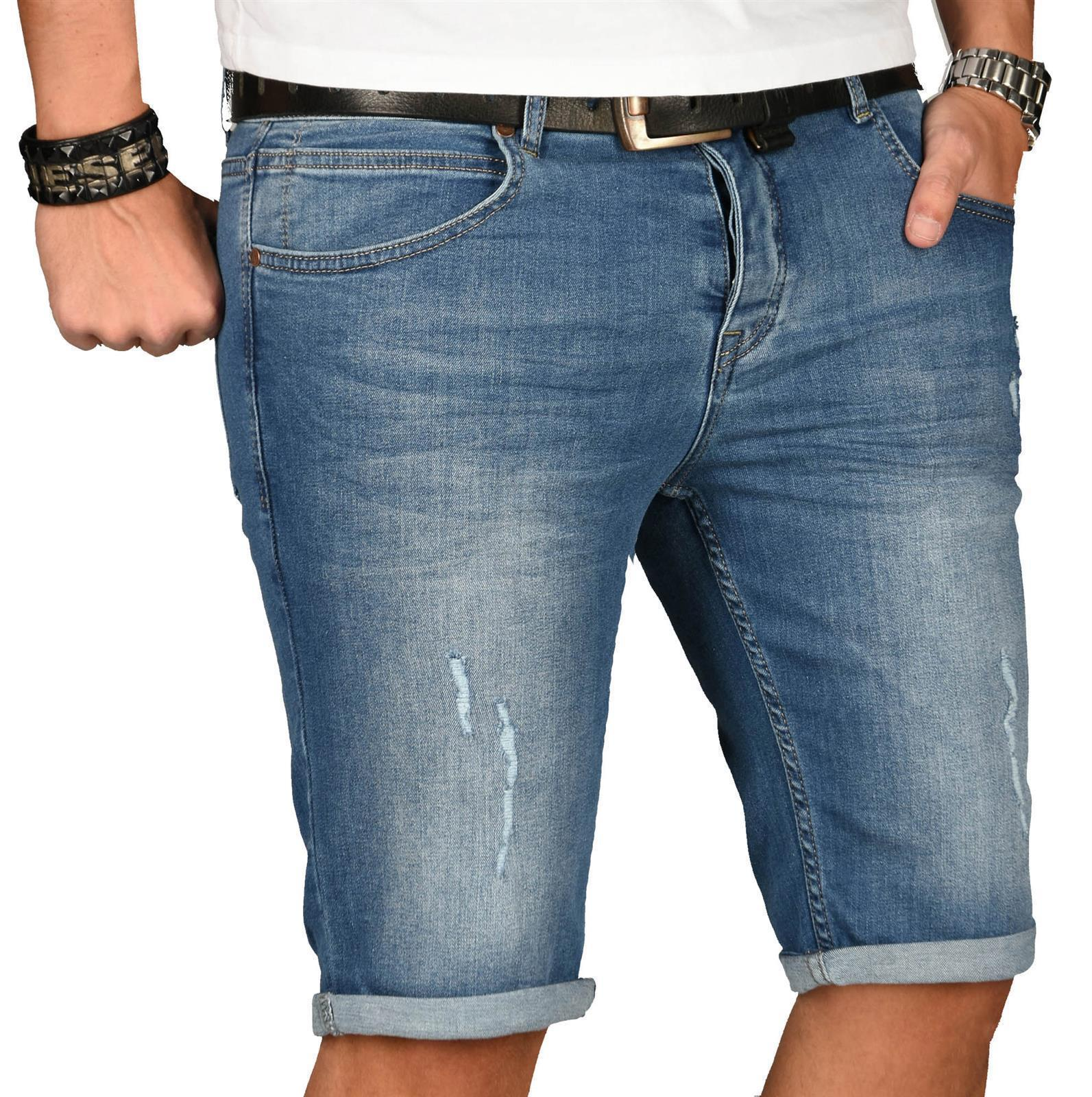 A-Salvarini-Herren-Designer-Jeans-Short-kurze-Hose-Slim-Sommer-Shorts-Washed Indexbild 27