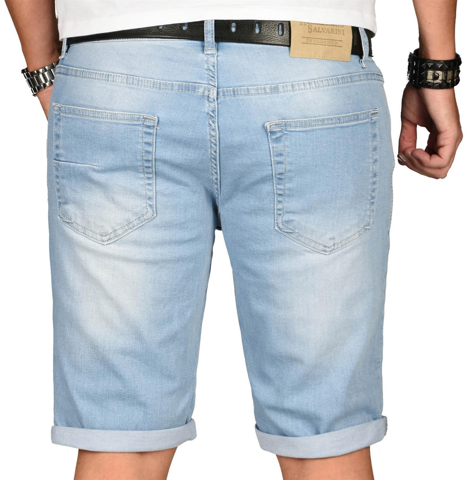 A-Salvarini-Herren-Designer-Jeans-Short-kurze-Hose-Slim-Sommer-Shorts-Washed Indexbild 17