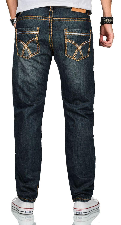 A-Salvarini-Herren-Jeans-Hose-dicke-Naehte-Jeanshose-Comfort-Fit-gerades-Bein Indexbild 6