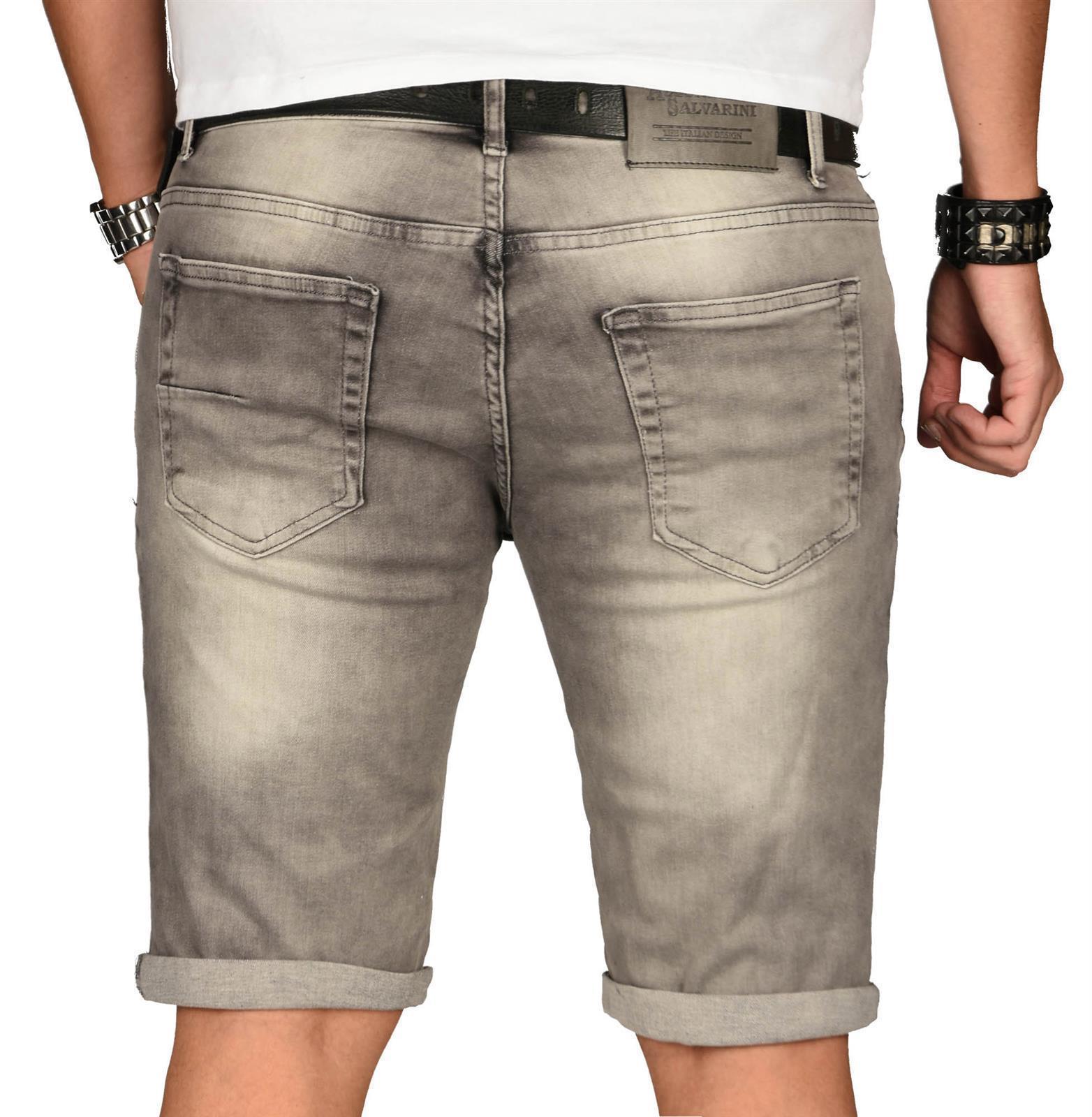 A-Salvarini-Herren-Designer-Jeans-Short-kurze-Hose-Slim-Sommer-Shorts-Washed Indexbild 45