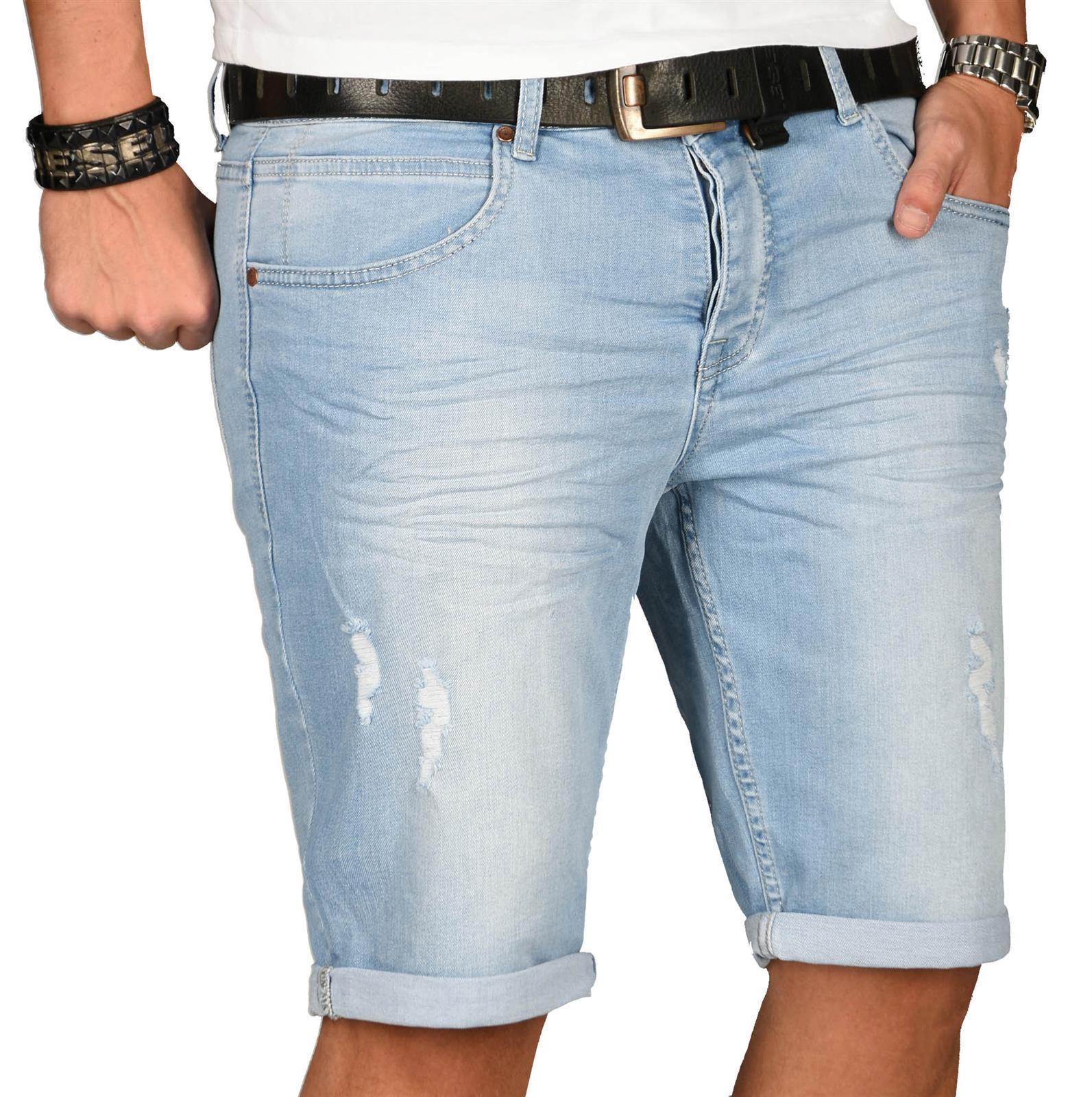 A-Salvarini-Herren-Designer-Jeans-Short-kurze-Hose-Slim-Sommer-Shorts-Washed Indexbild 15