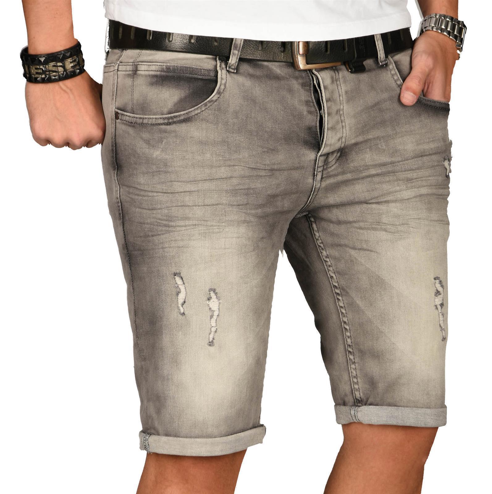 A-Salvarini-Herren-Designer-Jeans-Short-kurze-Hose-Slim-Sommer-Shorts-Washed Indexbild 43