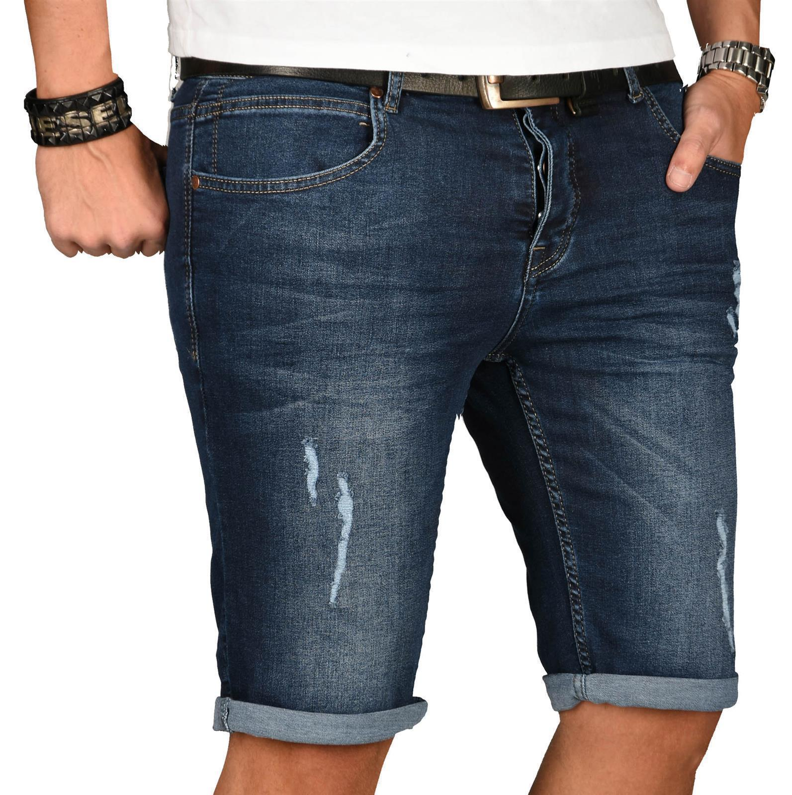 A-Salvarini-Herren-Designer-Jeans-Short-kurze-Hose-Slim-Sommer-Shorts-Washed Indexbild 35