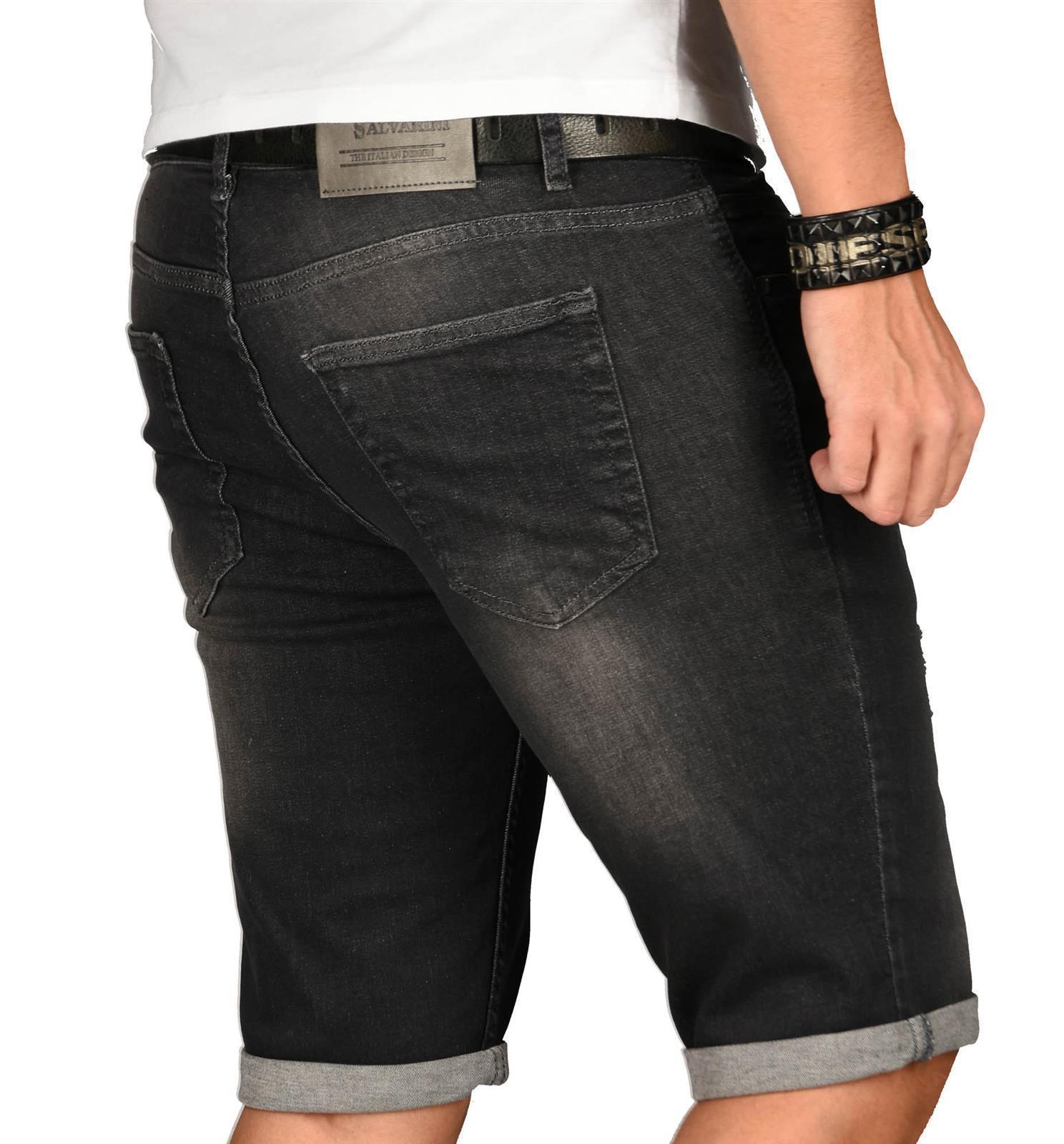 A-Salvarini-Herren-Designer-Jeans-Short-kurze-Hose-Slim-Sommer-Shorts-Washed Indexbild 48
