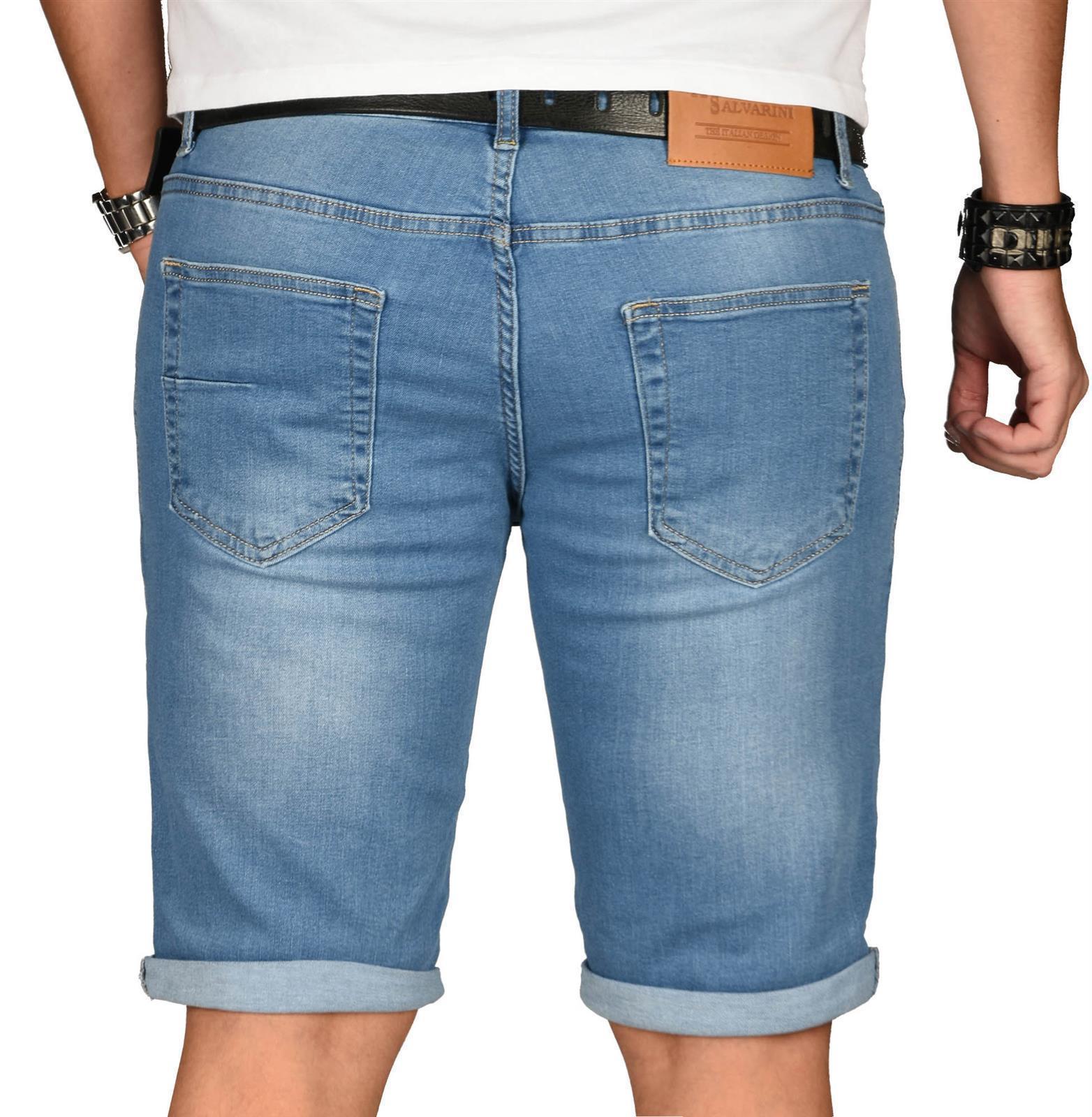 A-Salvarini-Herren-Designer-Jeans-Short-kurze-Hose-Slim-Sommer-Shorts-Washed Indexbild 21
