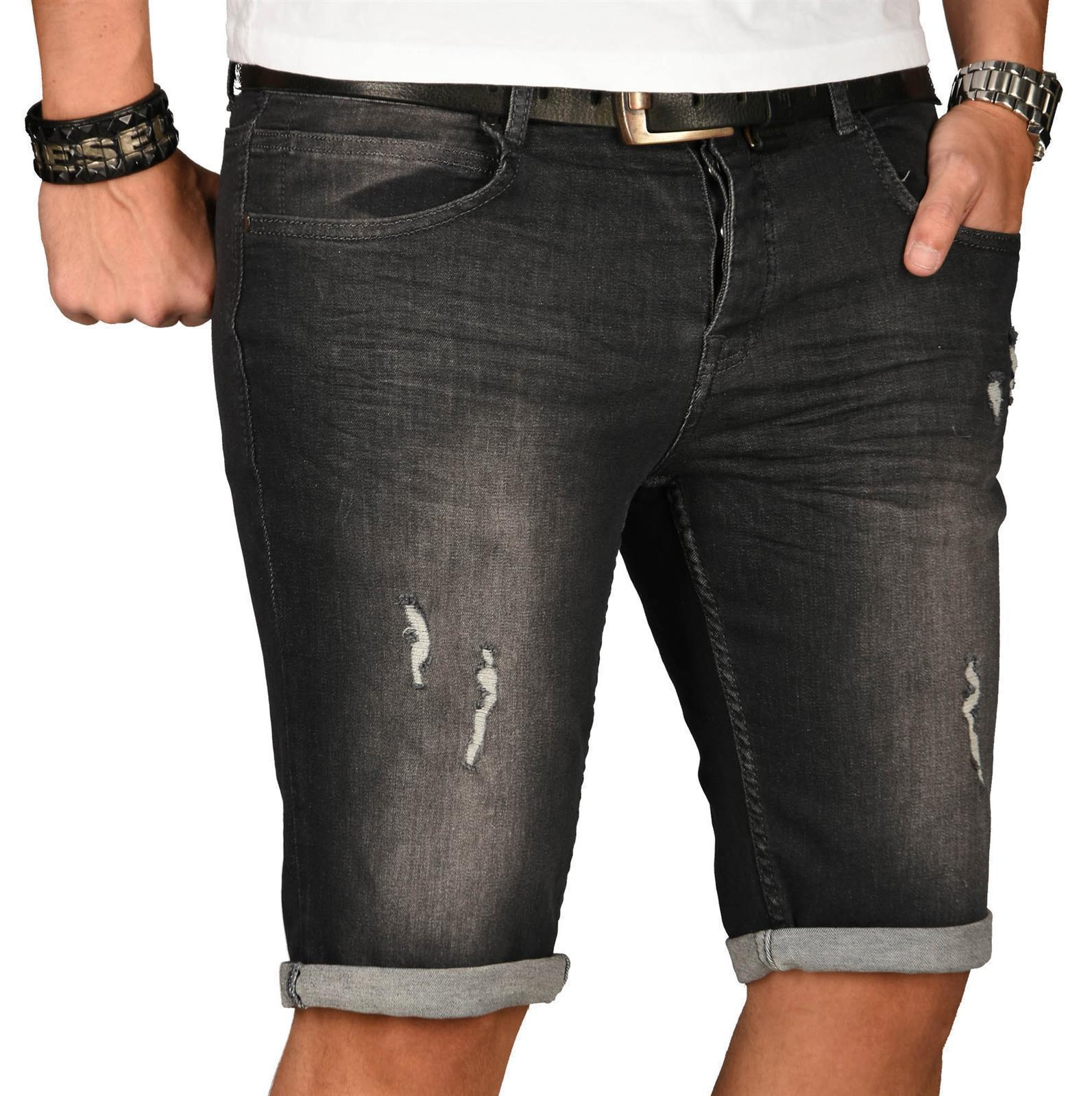A-Salvarini-Herren-Designer-Jeans-Short-kurze-Hose-Slim-Sommer-Shorts-Washed Indexbild 47