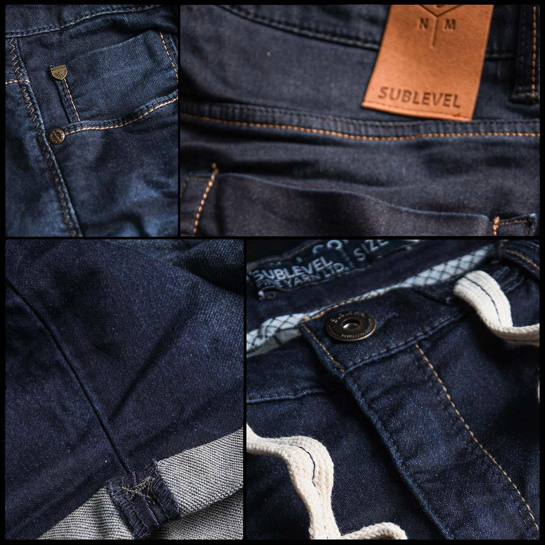 Sublevel-Herren-Sweat-Jeans-Shorts-kurze-Hose-Bermuda-Sommer-Sweathose-Slim-NEU Indexbild 38