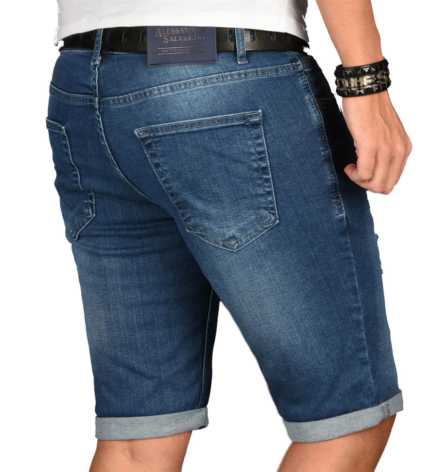 A-Salvarini-Herren-Designer-Jeans-Short-kurze-Hose-Slim-Sommer-Shorts-Washed Indexbild 32