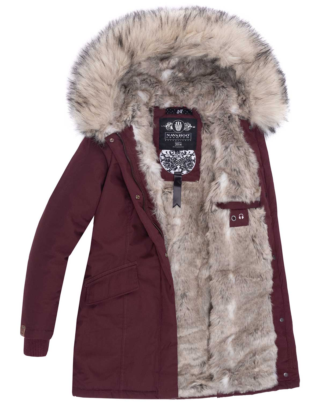 Navahoo-Premium-Damen-Winter-Jacke-Parka-Mantel-Winterjacke-warm-Kunstfell-B669 Indexbild 32