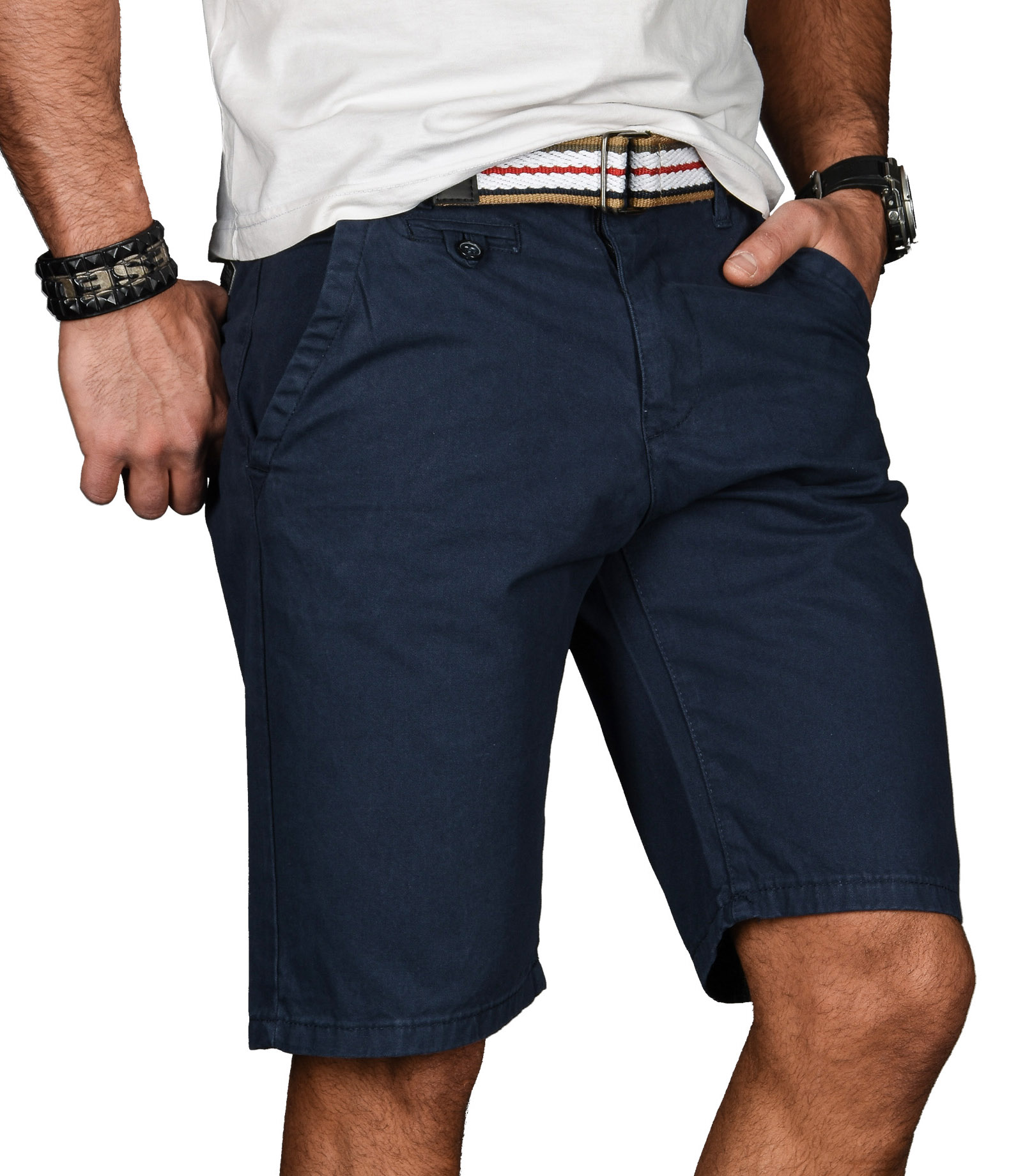 A-Salvarini-Herren-Shorts-kurze-Sommer-Hose-mit-Guertel-Short-Bermuda-NEU-AS096 Indexbild 9