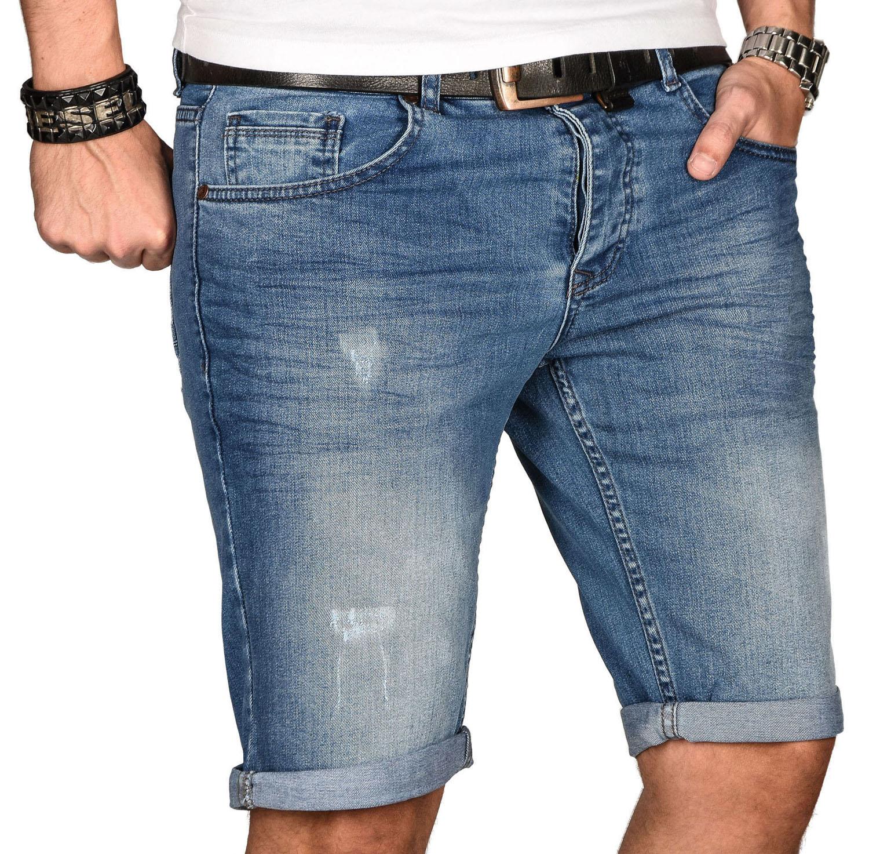 A-Salvarini-Herren-Designer-Jeans-Short-kurze-Hose-Slim-Sommer-Shorts-Bermuda Indexbild 3