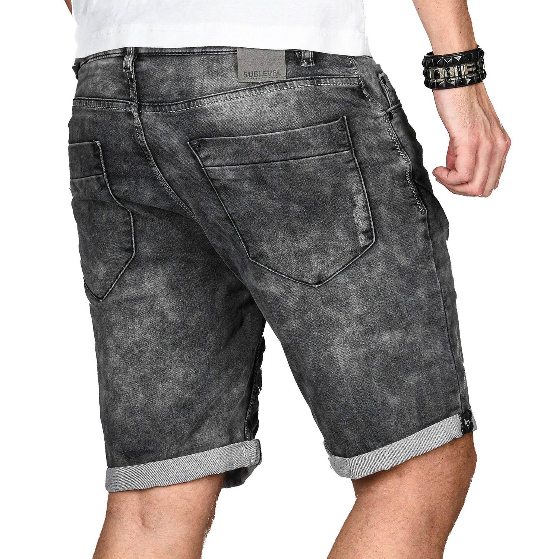 Sublevel-Herren-Sweat-Jeans-Shorts-kurze-Hose-Bermuda-Sommer-Sweathose-Slim-NEU Indexbild 59