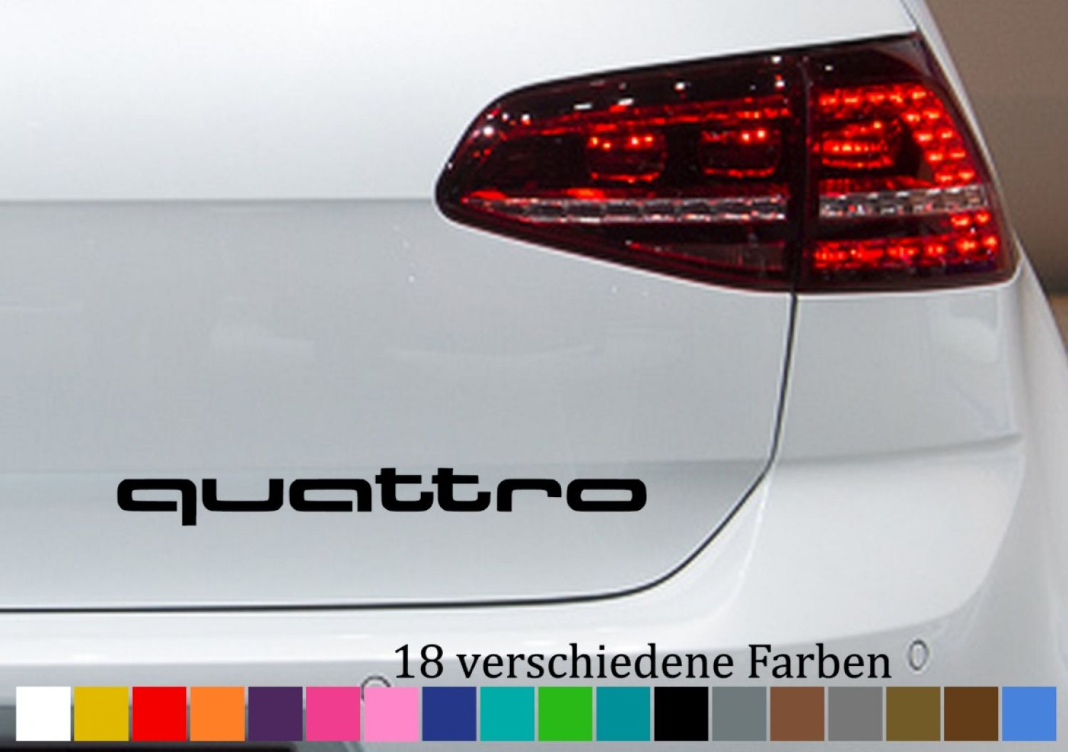 quattro schriftzug audi aufkleber autoaufkleber sticker. Black Bedroom Furniture Sets. Home Design Ideas
