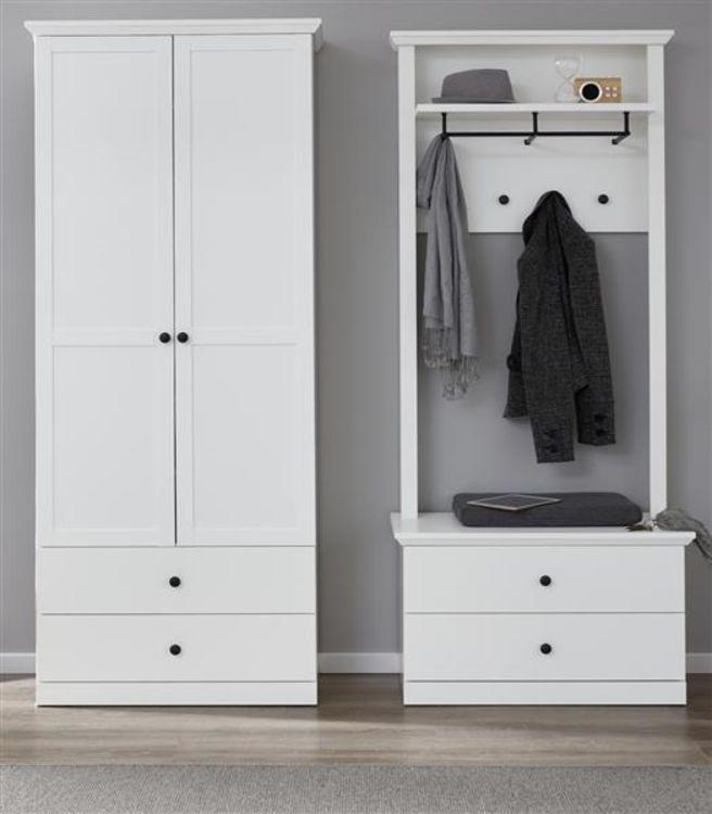 Details Zu Flur Garderobe Set In Weiß Landhaus Schrank Paneel Und Bank Garderobenset Baxter