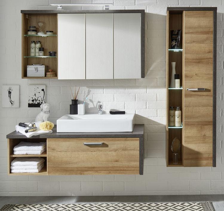 bad set mit waschbecken badezimmer komplett eiche honig. Black Bedroom Furniture Sets. Home Design Ideas
