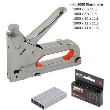 5000 Klammern  Set Hefter Klammergerät PROFI Handtacker 4-14mm Tacker inkl