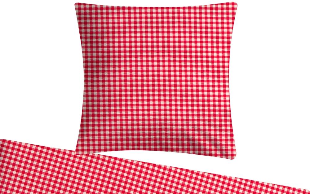 Seersucker Bettwäsche 135 x 200 Blau Rot karo kariert Sommer ohne Reißverschluss