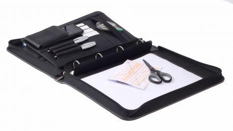 Felex Schreibmappe A4 Konferenzmappe mit Ringbuchmechanik schwarz