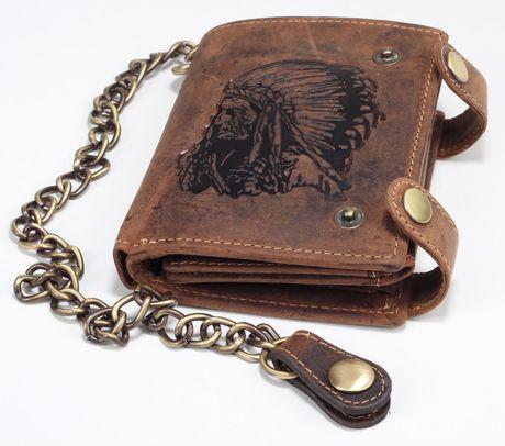 Greenburry Leder Geldbörse Portemonnaie Lederbörse Portmonee Vintage Indianer