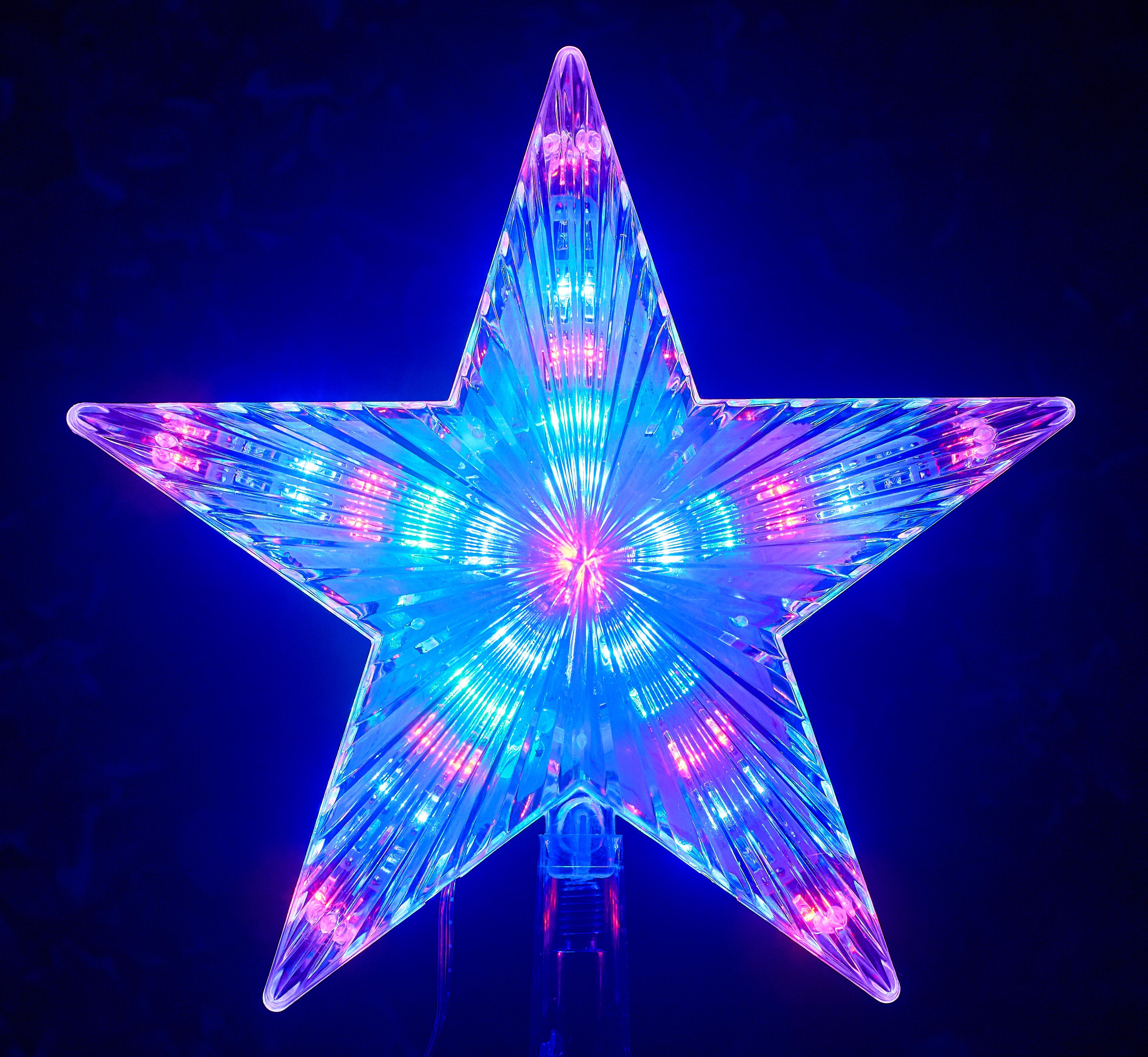 LED Stern für Tannenbaumspitze weiss mit 31 multicolor LED/'s