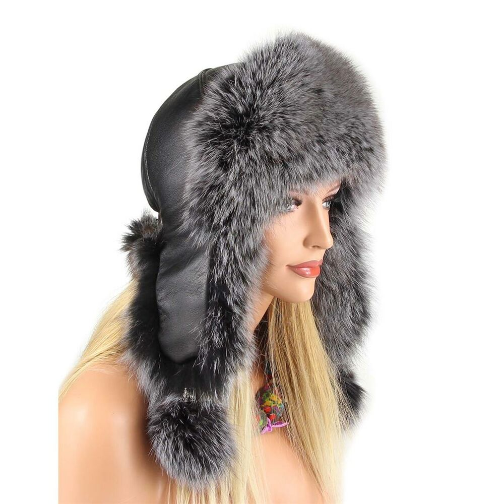 6d46f04c5a0 Ladies Fox Winter Hat Uschanka Aviator fur Cap Hat 8065937466352