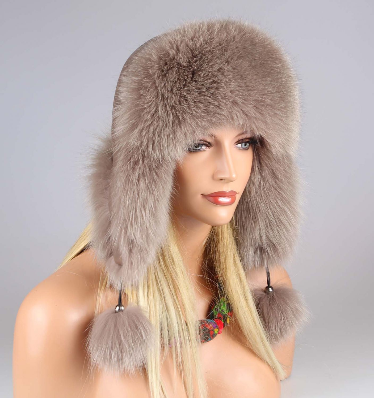 3ca4f99799df2 Invierno Fox las señoras sombrero gorro aviador sombrero sombrero de piel  de zorro Ushanka de piel sombrero del trampero