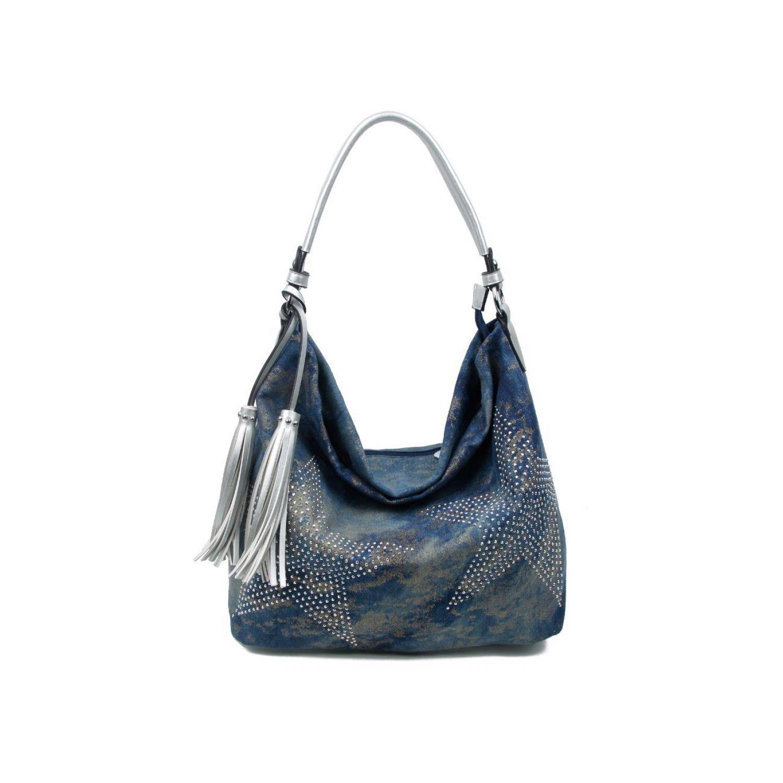 60f84d703cb2d OBC ital-design XXL Damen Stern Tasche Handtasche Canvas Baumwolle  Strasssteine Gold-Silber Bowling Beuteltasche Hobo-Bag Henkel Shopper  CrossOver Blau- ...