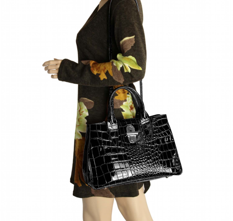 Cuir Sac Bandoulière À Femmes Main Shopping Vernis Business Pour Anse Ital zwx016qdz