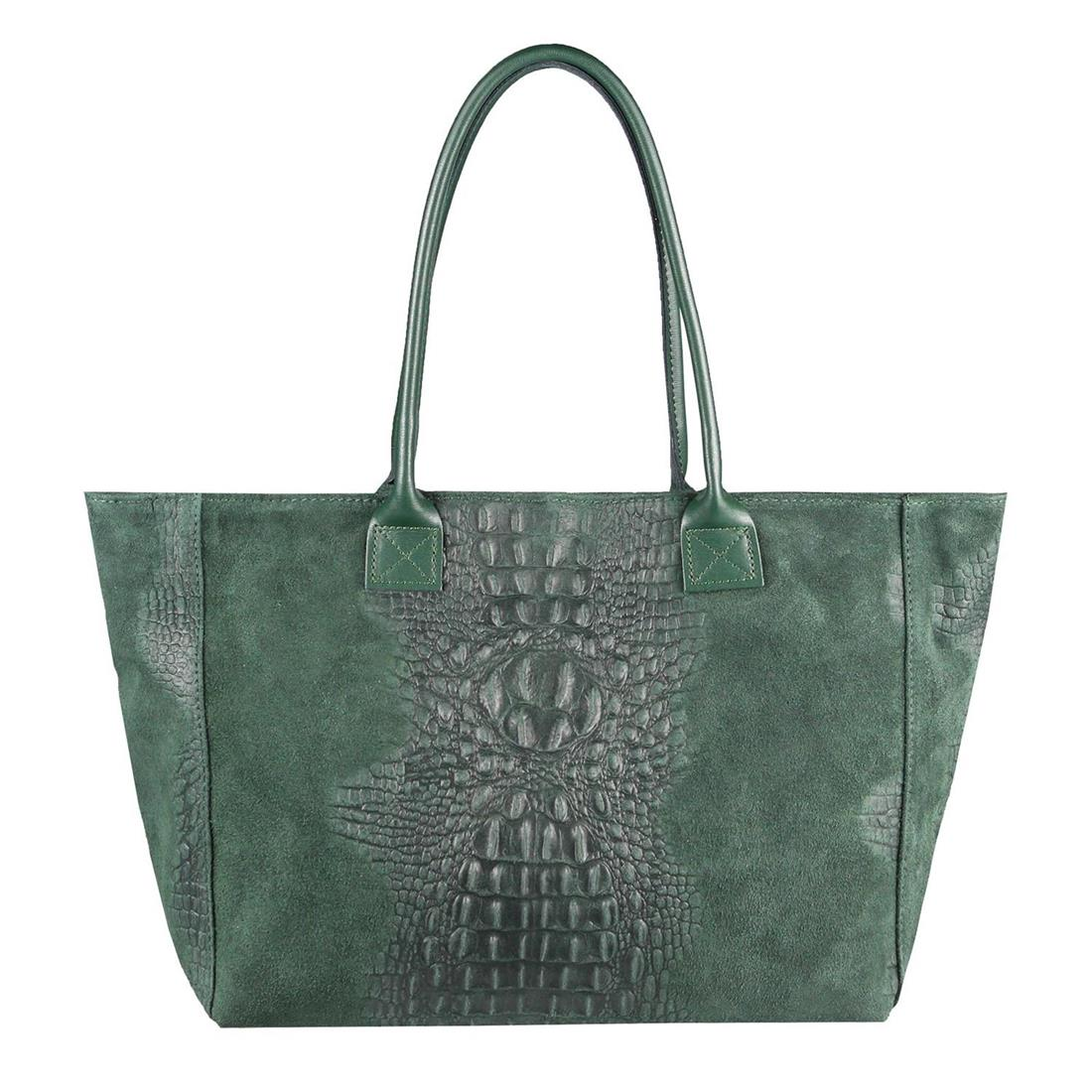 ITALY DAMEN LEDER HANDTASCHE KROKO A4 Shopper Tote Bag Schultertasche Wildleder