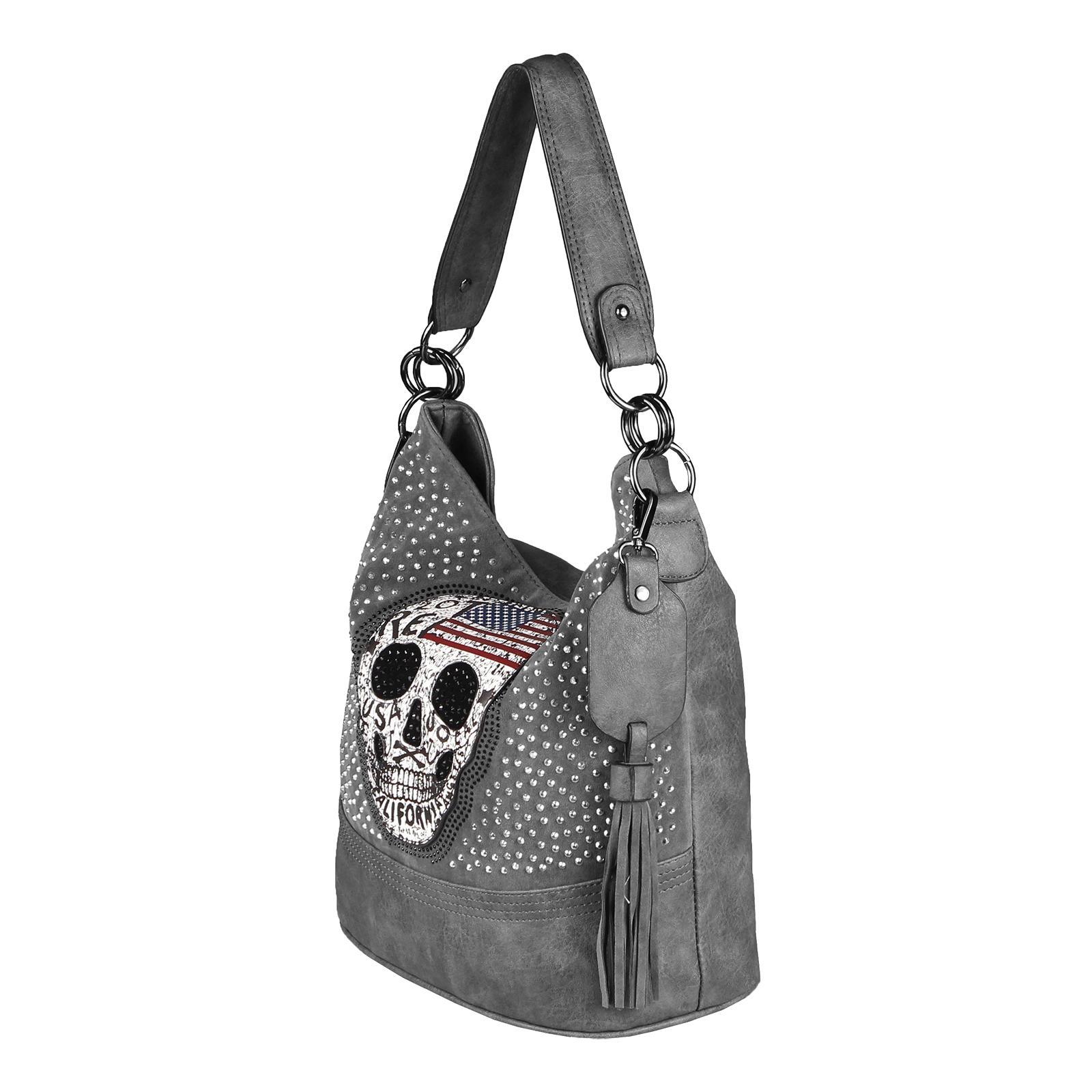 196c751df4600 TOTENKOPF DAMEN HAND-TASCHE Hobo BAG SKULL XL Shopper Leder Optik ...