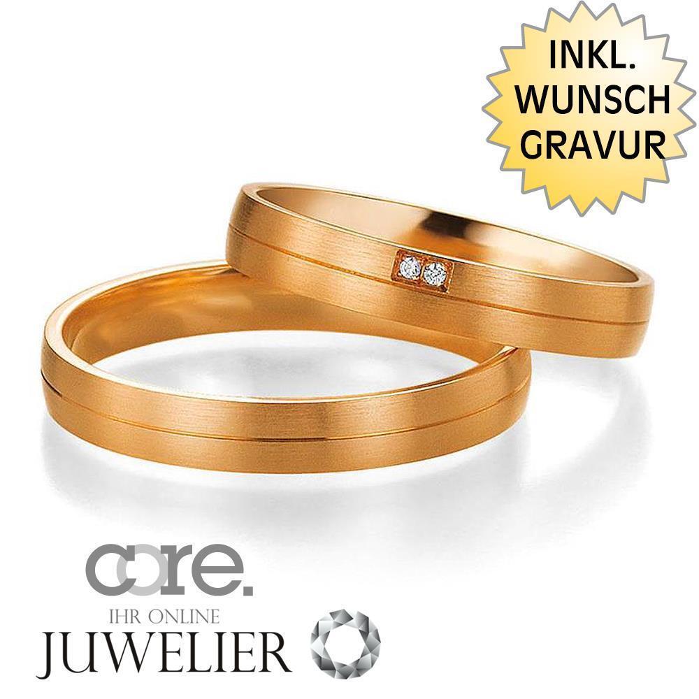 2019 Neuer Stil Trauringe Eheringe Aus 585 Gold Rotgold Mit Diamant & Gratis Gravur A19013402