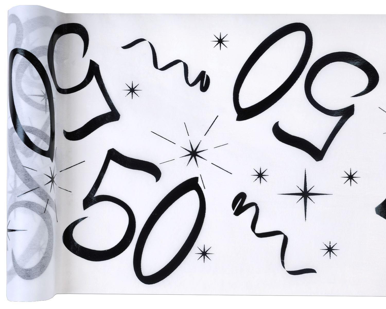 Tischläufer Vlies schwarz Zahl 50 Gold Geburtstag 5m Tischvlies Tischdekoration