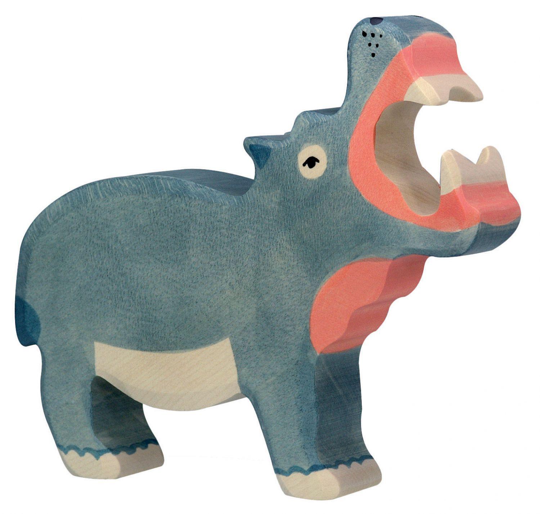Nilpferd Flusspferd Safari Holzfigur Holzspielzeug von Holztiger Spielfiguren