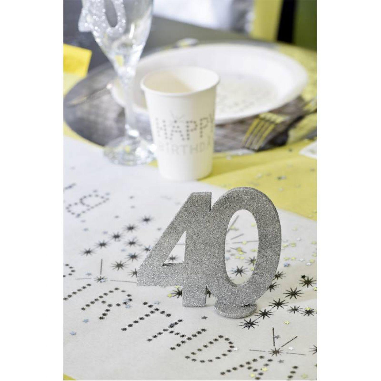 XXL Tischdeko Zahl 40 Geburtstag Silber Glitzer 1 Stück