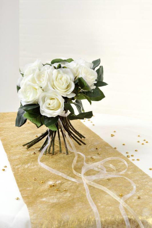 Tischläufer gold strukturiert Vlies 5 Meter Rolle Hochzeit Tischdekoration Deko