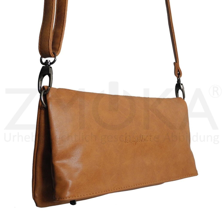 09f21dd8c377d7 Jennifer Jones - 2 Style Umhängetasche Handtasche Schultertasche - Cognac