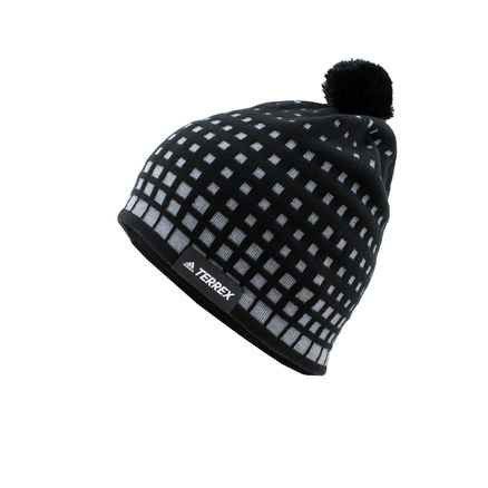 Adidas DSV Strickmütze Wolle Bommel Mütze Winter Skimütze Beanie dunkelblauweiß