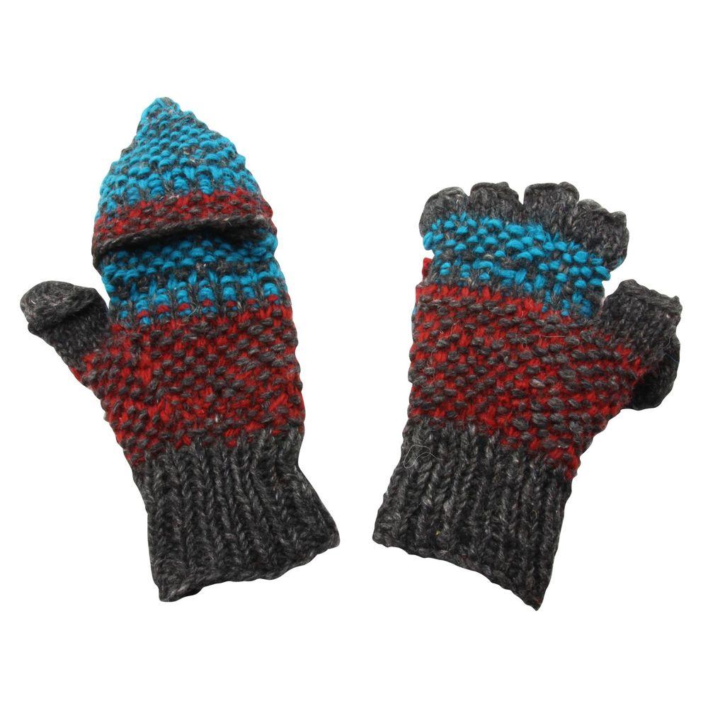 Fäustlinge aus Wolle Fäustlinge mit Fleece rot mit Muster Strickhandschuhe