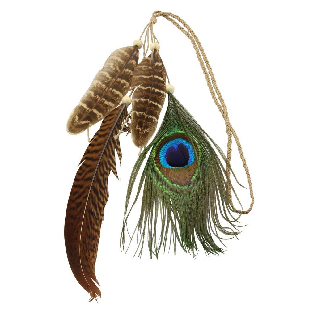 Haarband Haargummi Ethno Hippi Haarreif Kopfband Boho Kopfschmuck Feder Festival