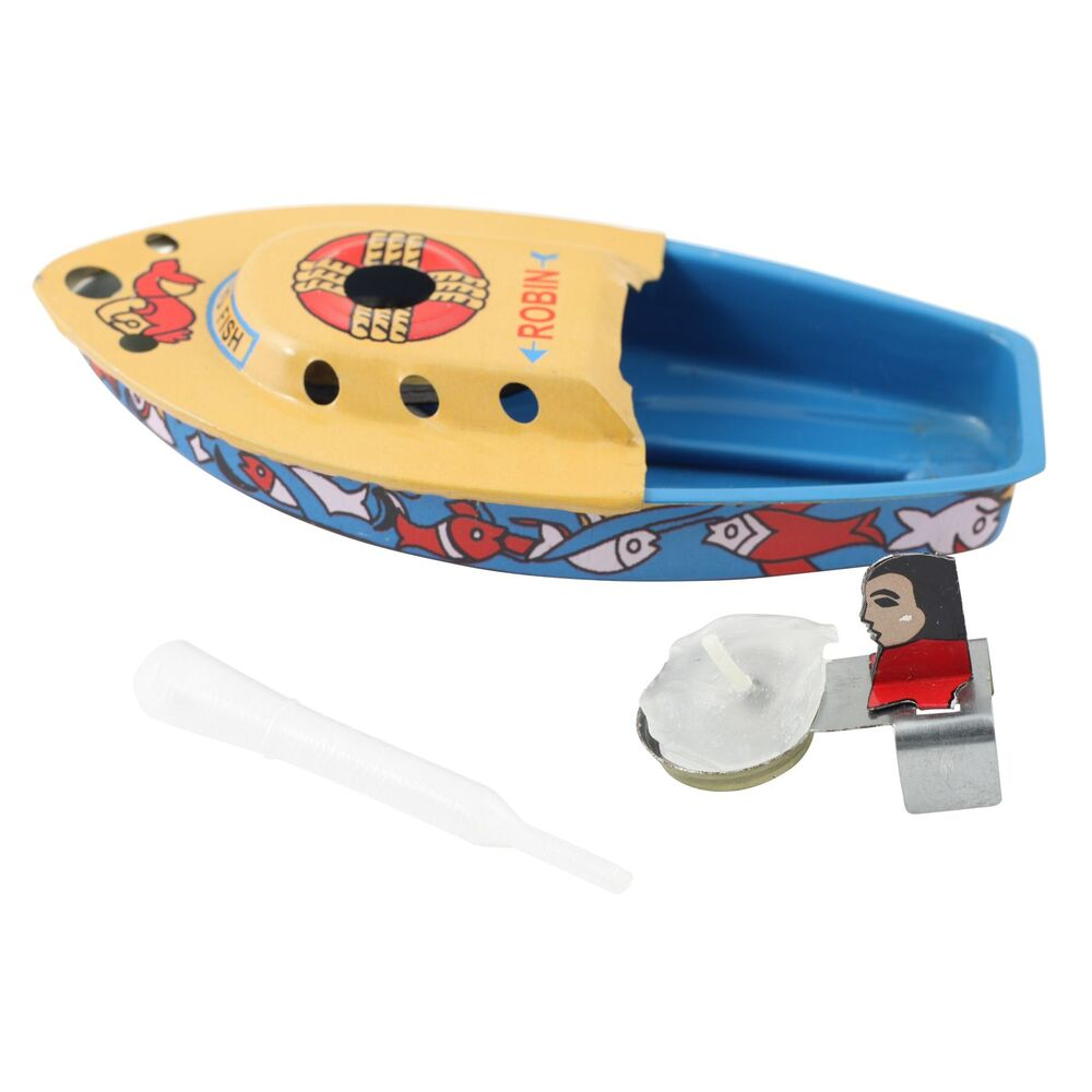 Blechspielzeug Boot Robin Kerzenboot Pop Pop Knatterboot aus Blech