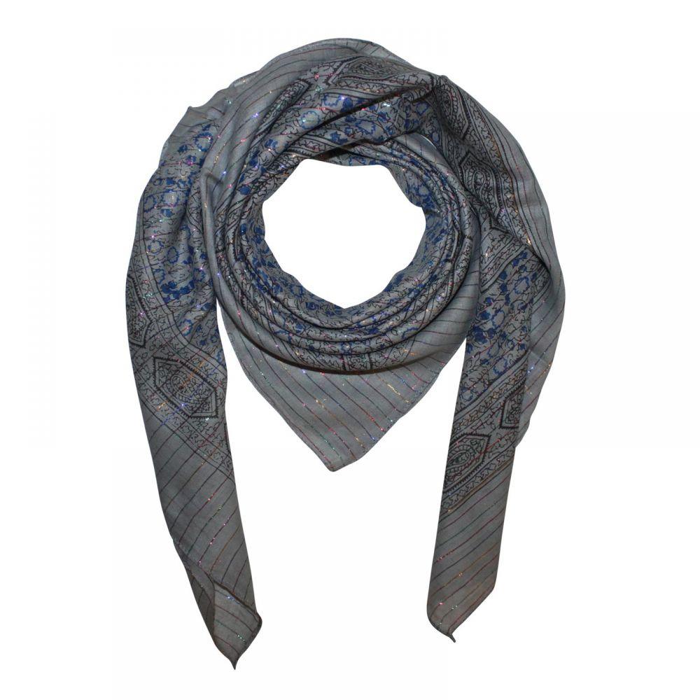 weiß Lurex mehrfarbig Indisches Muster 1 quadratisches Tuch Baumwolltuch