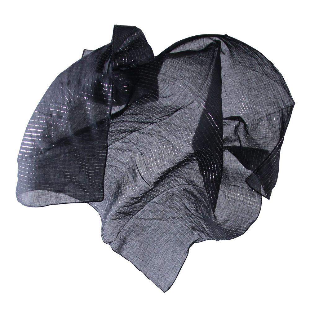 Weißes Tuch Baumwolltuch Lurexstreifen silber quadratisches Tuch 100x100cm Hippi