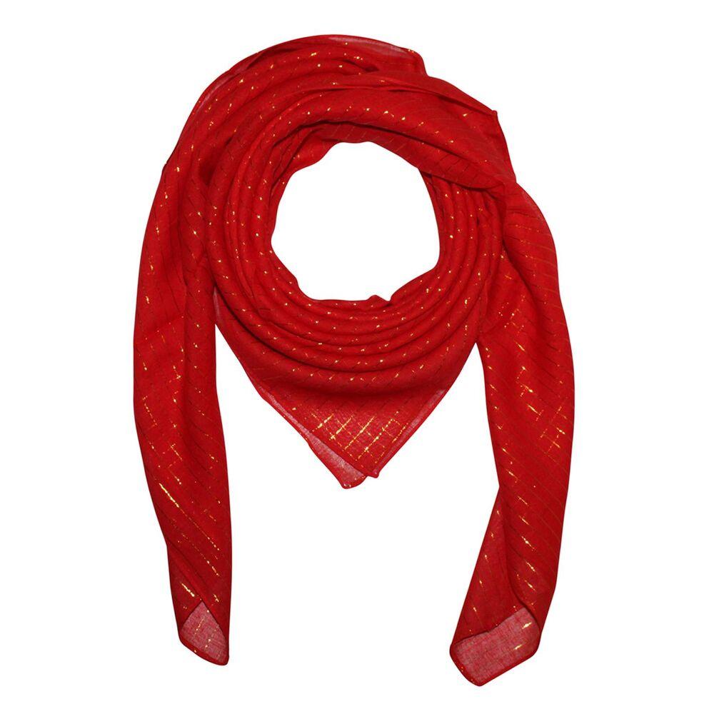 Baumwolltuch rot mit silber Lurexstreifen quadratisches Tuch Schal Halstuch fein