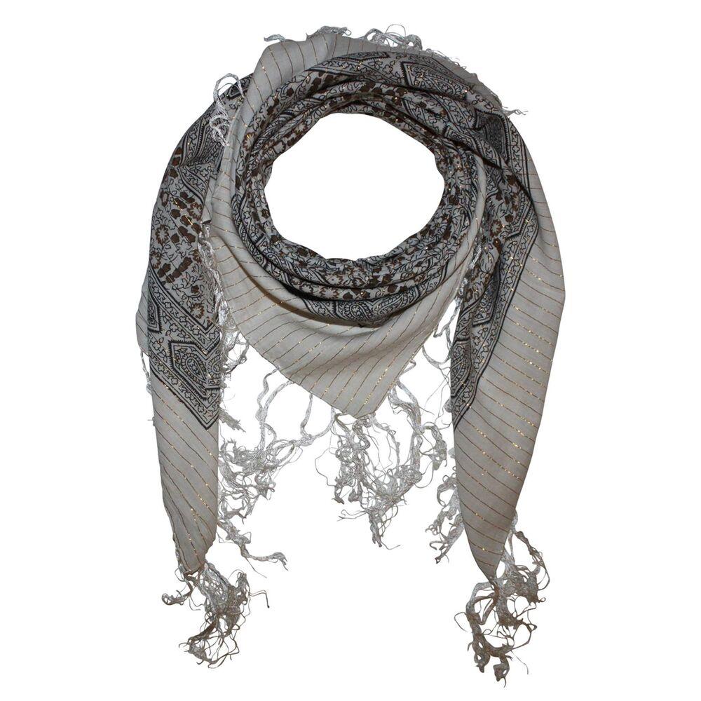 Baumwolltuch quadratisches Tuch Sterne 6 cm schwarz weiß Lurex mehrfarbig
