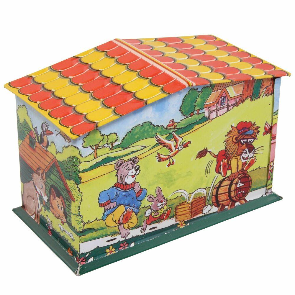 Haus Spardose Postamt Blechspielzeug Blechspardose