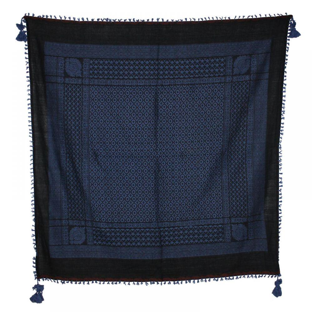 hochwertiges Tuch Schal im Pali-Look schwarz blau Fransen Kordel