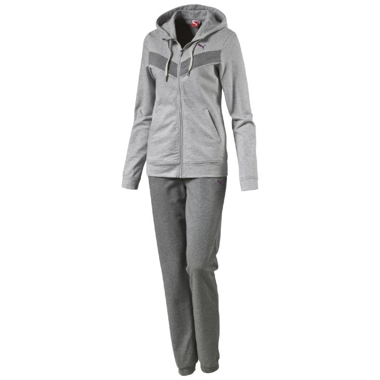 Details zu PUMA DAMEN TRAININGSANZUG - FUN SWEAT SUIT CLOSED - GRAU VERS.  GRÖßEN NEU